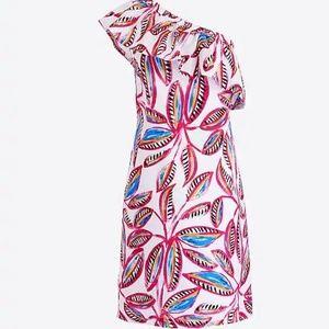 J Crew Factory One Shoulder Ruffle Floral Dress